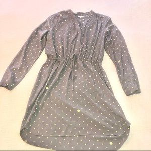 Gap yellow and gray polka dot dress